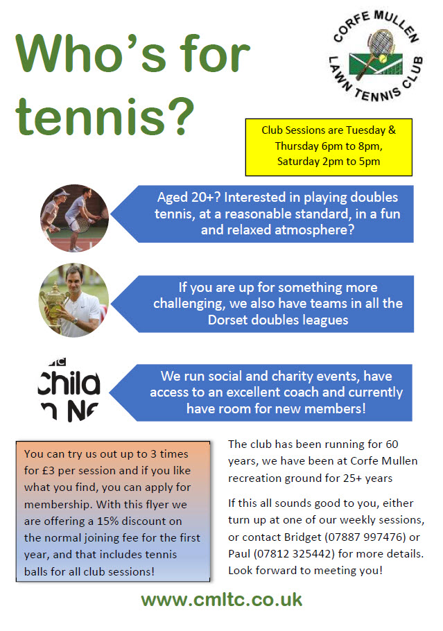 Join Corfe Mullen Tennis Club